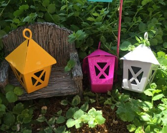 Miniature White Metal Lantern, Fairy Garden Accessory, Miniature Gardening, Home and Garden Decor, Topper, Crafting