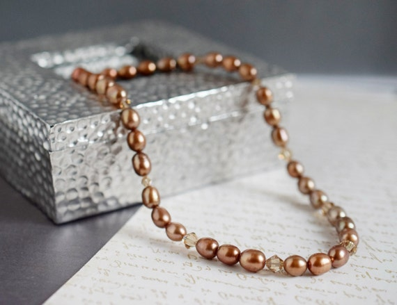 Copper Brown Freshwater Pearl Necklace Brown Necklace Rose Gold Filled Swarovski Crystal Neutral Golden Choker Bridal Jewelry Wedding Gift