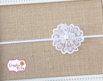 White Lace Headband, Pearl and Lace Headband, Flower Girl Headband, Baptism Headband, Baby Headband, Newborn Headband, Lace Headband