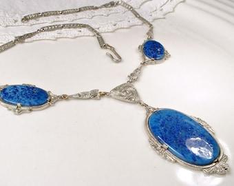 Antique Art Deco Lapis Blue Necklace, 1920s Vintage Czech Art Glass Silver Lavalier Necklace, Bridal Statement Necklace Lapis Lazuli Pendant