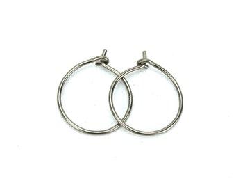 Niobium Hoop Earrings Small Silver Niobium Hoops Hypoallergenic Hoop Earrings for Sensitive Ears, Nickel Free Hoops, Niobium Jewellery