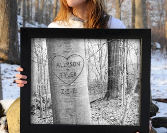 Personalized Carved Tree Art Print, Gift for Couple, Boyfriend Gift, Family Tree, Family Print, Newlywed Gift, Engagement Gift, Gift for Him