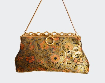 Vintage 50s BROCADE Floral Print PURSE / 1950s Evening Bag Clutch made in France