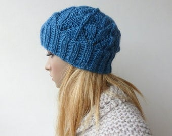 Blue knit beanie Womens Blue knit hat with leaf pattern blue beanie women gifts for her