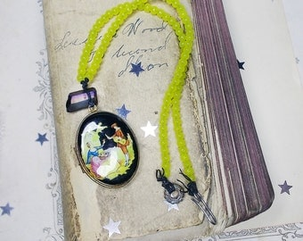Beaded Necklace -- Rustic Assemblage Necklace - Vintage Locket, Purple Quartz Point - Bright Lemonade Yellow Beads - Colorful Necklace