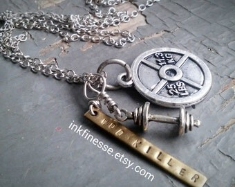 Accomplishment - miniature metalwork dumbell, weight plate charm & stamped wod tag, fitness fitspo necklace