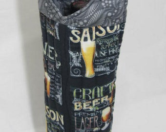 Beer Gift Beer Tote Wine Tote Wine Bag  Growler Gift Bag Hostess Gift Gift Under 25 Handmade in USA Fathers Day2016