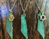 Israel Patina Necklace with optional  hamsa, star or heart cut out