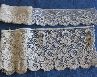 2 Antique Brussels Bobbin Lace Trims