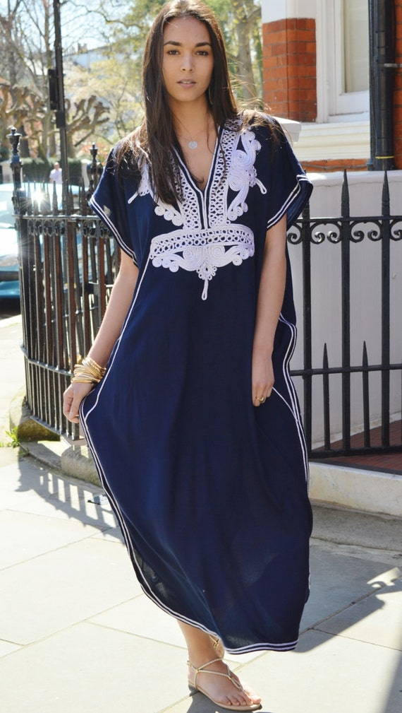 Spring Fashion Gifts-Navy Blue with Silver Boho Marrakech Resort Caftan Kaftan -beach wear,resortwear,loungewear, honeymoon, maternity gifts