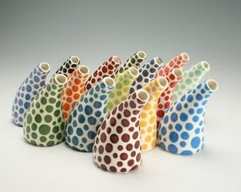 One Ceramic Vase, Burgandy Maroon Polka Dot Vase, Pottery Flower Vase, Ceramic Bud Vase, Office Desk Accessories