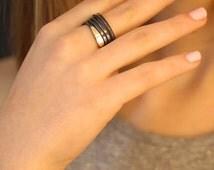 Silver Gold ring size5-9, black ring women Spiral ring, snake ring, designer ring, string ring, dark ring, sterling silver band, modern ring