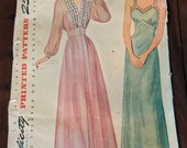 Vintage 40s Peignoir Set Nightgown Robe Negligee Sewing Pattern 12 Womens