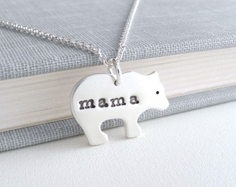 Mama Bear Necklace, Mother Grizzly Bear, New Mom Necklace, Fine Silver, Sterling Silver Chain, Made To Order