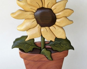 Sunflower Pot Intarsia Wood Carving Wall Hanging Floral Summer Decor Flower Decoration Nature Garden Yellow