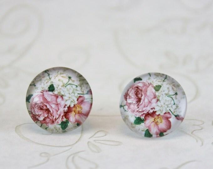 Post Earrings, Pierced or Clip-On Earrings, Earring Gift, Floral Jewelry, Flower Earrings, Rose Jewelry