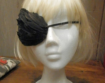 Gothic Feather Eyepatch - Fantasy, Steampunk, Circus, Cosplay accesory, Costume black eyepatch, custom color