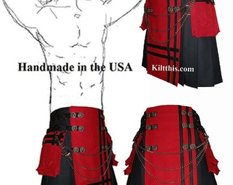 Interchangeable Black Red Canvas Cargo Utility Kilt Leather Double Cross Design Custom Fit Adjustable Many Options