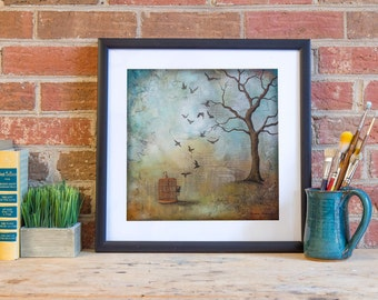 Bird Cage Art Print, titled Set Us Free, Archival paper reproduction, Bible verse Art Print