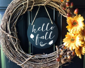 Front Door Sign Hello Fall Sign Chalkboard Sign Home Decor Wall Decor Farmhouse Decor Chalkboard Art Fall Sign Fall Decor Autumn Sign Wreath