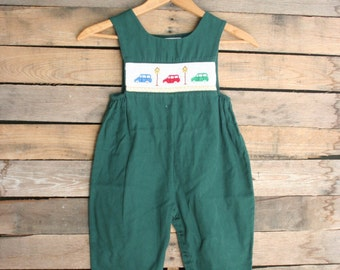 Vintage Children's Green Smocked Car Romper by House of Hatten INC Size 3T