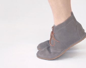 Flat lace-up ankle boots - Leona in Grey - Handmade Leather shoes - Minimalist soles & CUSTOM FIT