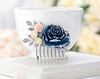 Navy Wedding Hair Piece Bridal Hair Comb Wedding Hair Accessory Blush Pink Ivory Navy Rose Flower Silver Leaf Hair Comb Bridesmaid Gift Idea