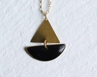 Sailing Boat Necklace ... Black Geometric Enamel Nautical Pendant