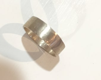 Solid Sterling Silver Band Ring Handmade Brushed Finish Size 8