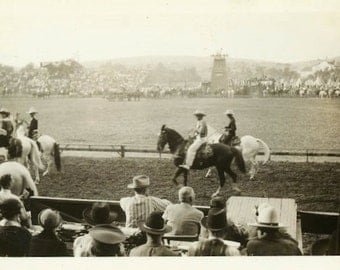 "Vintage Photo ""Weekend at the Rodeo"" Horseback Riding Cowboy Western Life People Crowd Gathering Men Man Snapshot Americana Vernacular - 138"