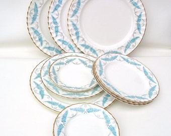 Vintage Royal Worcester China | Dinnerware Set | Turquoise China | Ferncroft Porcelain Plates | Service for 4