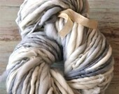 Bulky Yarn Grey, Blue, Cream, Handspun, hand painted wool, silk, warm, soft, knitting supplies, crochet supplies Active