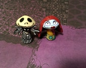 MTO Jack and Sally Inspired Mini Character Pop Culture 'Shrooms - Nightmare Before Christmas - Handpainted Polymer Clay Miniature Sculptures