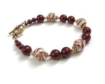 White Red & Gold Lampwork Bracelet with Red Swarovski Pearls, Red Lampwork Bracelet, Red Pearl Bracelet, White Lampwork Bracelet