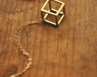 geometric cube necklace.