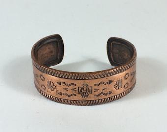 Vintage Southwestern Thunderbird Copper Cuff Bracelet