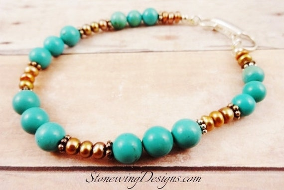 Turquoise Bracelet, Turquoise and Pearl Jewelry, Beaded Turquoise Bracelet, Natural Turquoise Bracelet