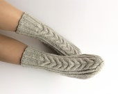 Braided Cable Hand Knitted Woolen Socks - Warm Winter Eco Clothing - Light Gray - Small Size