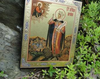 Religious plaque Icon Byzantine Russian greek Orthodox gold foil on wood God Modern white christian catholic Virgin Mary prayer
