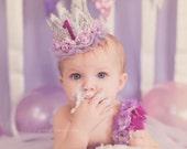Ready to Ship|| Birthday ballerina flower lace crown headband || lavender + silver|| cake smash || custom || any age