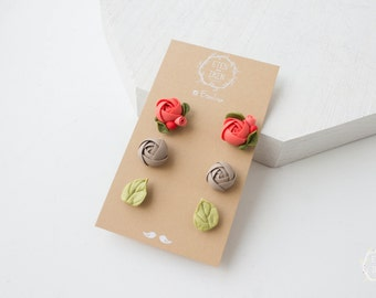 Orange Grey Green Stud Earrings Set Wholesale Women Accessory Jewelry Small Hypoallergenic Flower Studs Wedding Bridal Mother Gifts