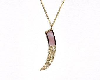 14k Pave Diamond & Mother of Pearl Horn Pendant/Necklace *Made To Order*