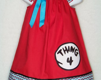 Thing 1 Dress / Dr. Suess/ Red & Blue Chevron / Thing 1 2 3 4 5 6/ Birthday /Infant / Toddler/ Baby / Girl / Kids / Custom Boutique Clothing