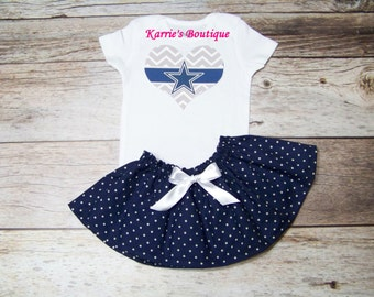 Dallas Cowboys Outfit / Onesie or Shirt + Skirt / Navy Blue Dots & Silver / Football / Game Day / Infant / Baby / Girl / Toddler / Boutique