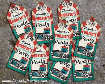 50s Garage Hot Rod Party Thank you Tags - INSTANT DOWNLOAD - DIY Editable & Printable Birthday Decorations by Sassaby Parties