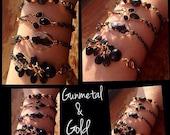 Gunmetal & Gold Bracelet Set-Slider/Stacking Bracelets-Fashion Jewelry-Prom Jewelry-Christmas Gift