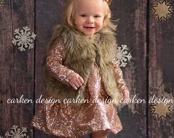 sequin party flowergirl dress long sleeve dress party custom wedding sparkle baby toddler bronze blush coral navy champagne teal silver