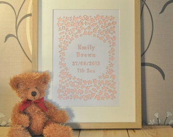 New baby paper cut personalised laser Cut
