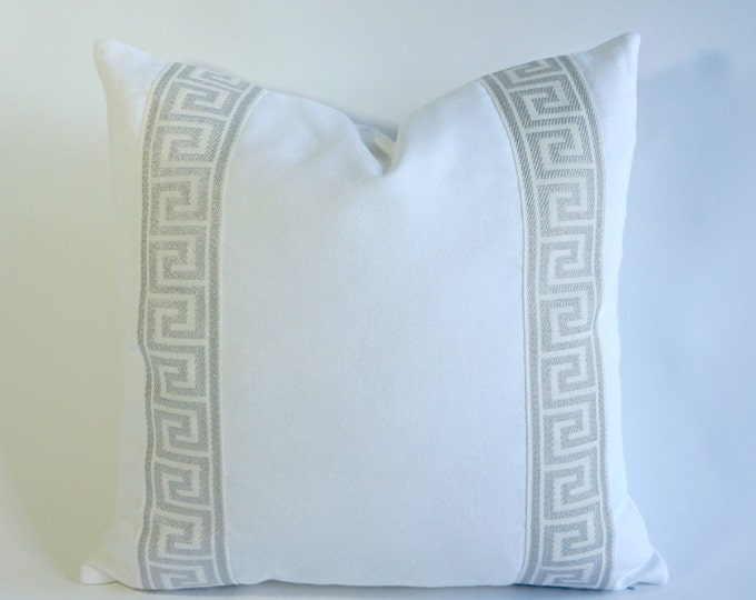 Decorative Pillow Cover Cotton Pure White Cotton Canvas with Silver Gray Greek Key Ribbon Border - 16x16 To 26x26 4 Different Color Choices