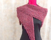 Hand Knit Rose Pink Shawl - Warm Knitted Shoulder Wrap - Handmade Shoulder Cover - Ladies Accessory